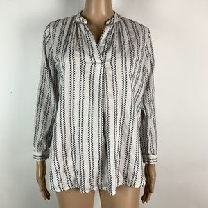 Loft Popover Blouse Tunic Striped White Black